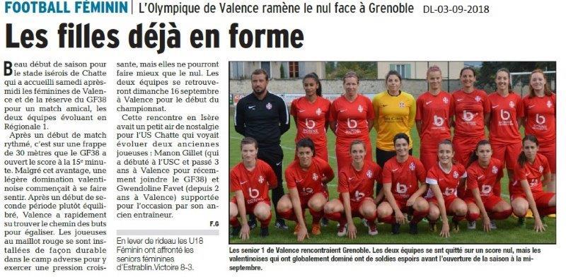 Dauphiné Libéré du 03-09-2018- Les féminines du Football de Valence