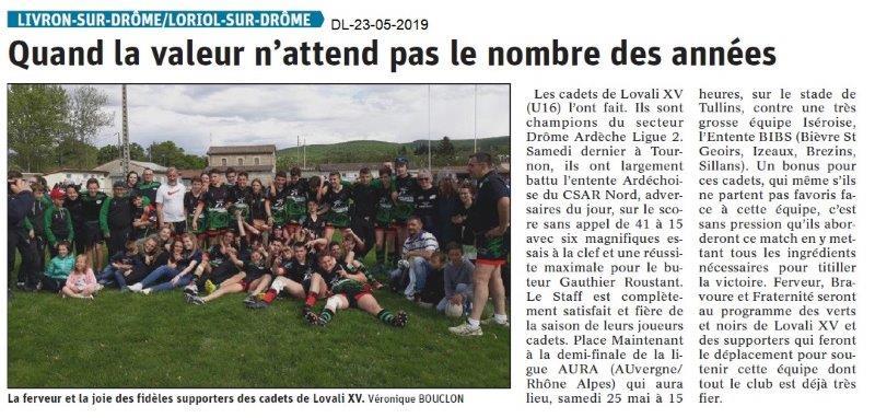 Le Dauphiné Libéré du 23-05-2019- L'ovali XV Loriol