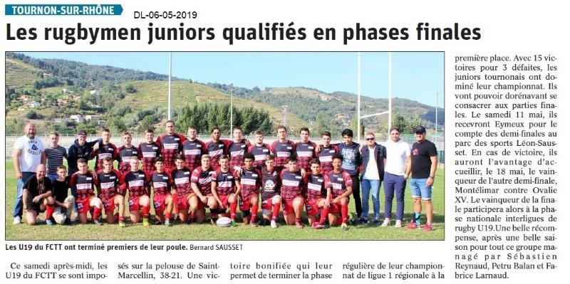 Le Dauphiné Libéré du 06-05-2019- Rugbymen juniors de Tournon