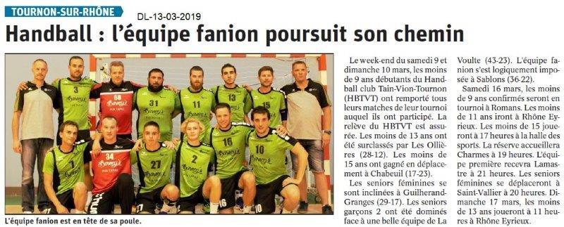 Le Dauphiné Libéré du 13-03-2019- Foot de Tournon