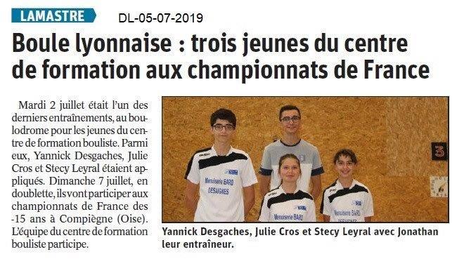 Dauphiné Libéré du 05-07-2019- Boules lyonnaises de Lamastre