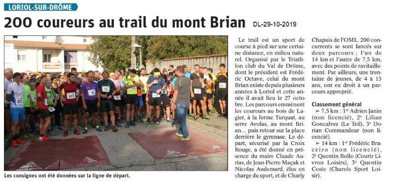 le Dauphiné Libéré du 29-10-2019- Départ Trail du mont Brian à Loriol.