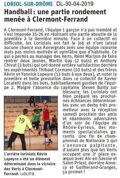 Le Dauphiné Libéré du 30-04-2019- Handball Lorolais