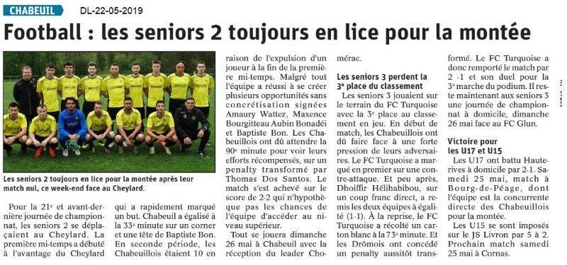 Le Dauphiné Libéré du 22-05-2019- Foot de Chabeuil