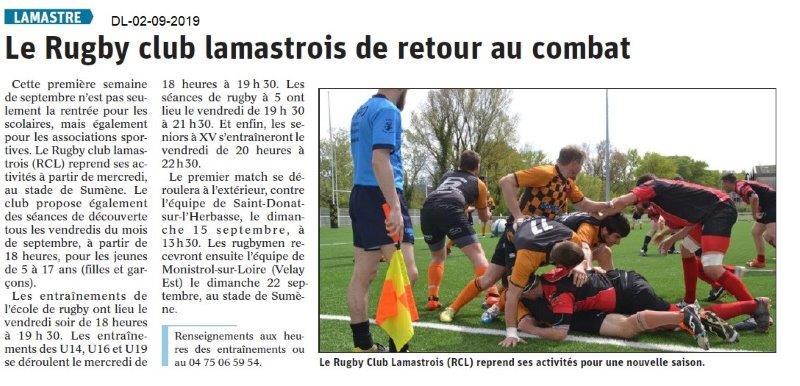 Dauphiné libéré du 02-03-2019- Rugby club Lamastrois