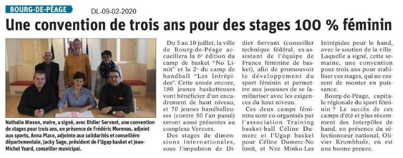 Le Dauphiné Libéré du 09-02-2020- Sport à Bourg de Péage