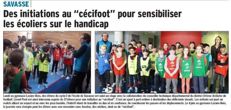 Dauphiné Libéré du 16-03-2018 Initiation sur le Handicap- Foot-Savasse