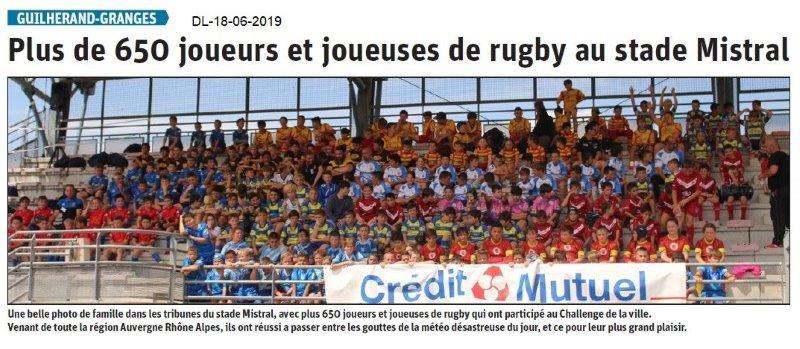 Dauphiné Libéré du 18-06-2019- Rugby à Guilherand
