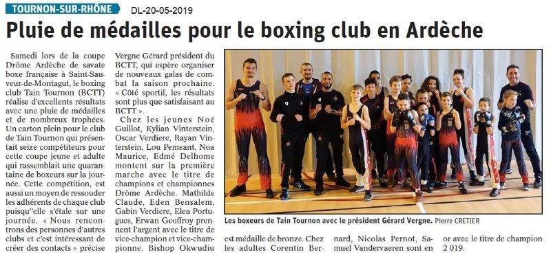 Le Dauphiné Libéré du 20-05-2019- Boxing Club Tain-Tournon