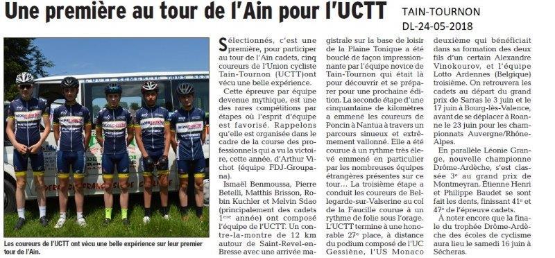 Dauphiné Libéré du 24-05-2018-Sélection des cyclistes de l'UC Taint-Tournon