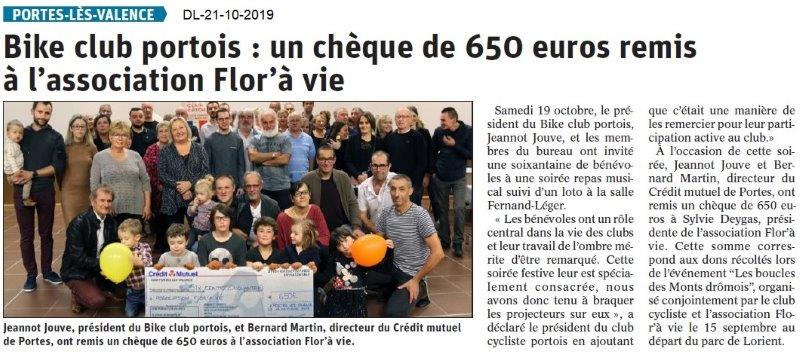 Dauphiné libéré du 21-10-2019- Bike club Portois
