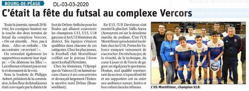 Dauphiné libéré du 03-03-2020- Futsal Bourg de Péage