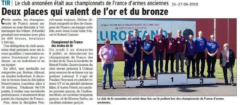 Dauphiné Libéré du 27-06-2018- Club d'armes anciennes Annonay
