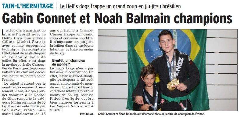 Dauphiné Libéré du 23-07-2018- Arts martiaux à Tain-l'Hermitage