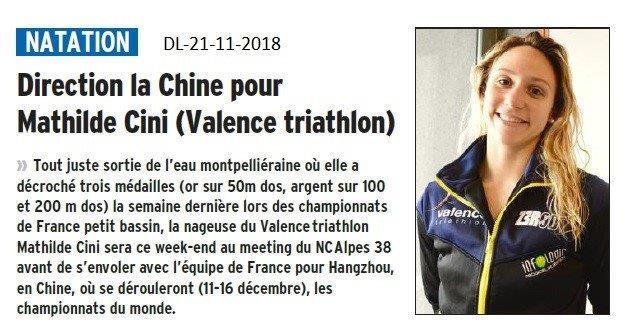 Dauphiné Libéré le 21-11-2018- Mathilde Cini en route pour la Chine