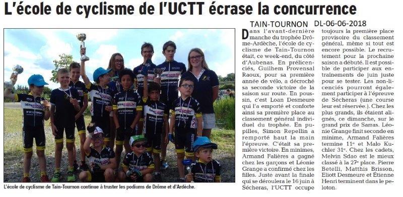 Dauphiné Libéré du 06-06-2018- Ecole de cyclisme de Tain-Tournon