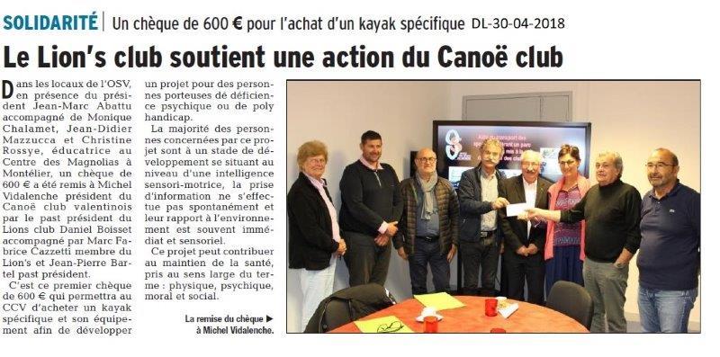 Dauphiné Libéré du 30-04-2018-Projet au Canoë club valentinois