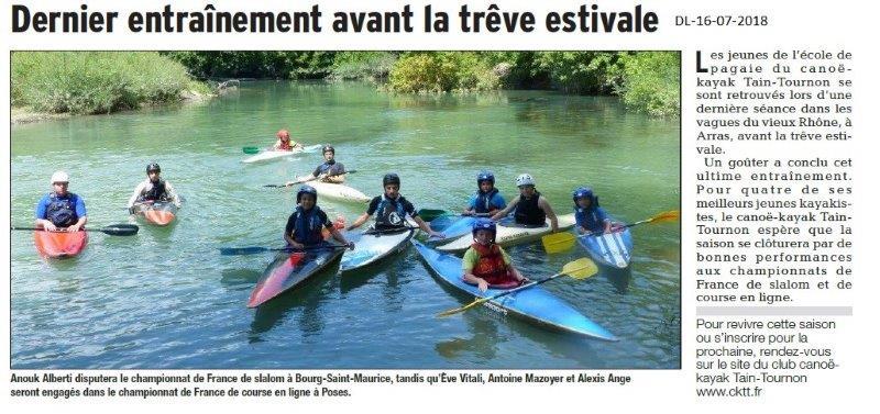 Dauphiné Libéré du 16-07-2018- Canoë kayak de Tain-Tournon