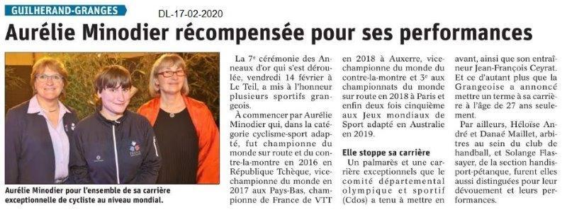 Le Dauphiné Libéré du 17-02-2020- Aurélie Minodier aux Anneaux d'Or