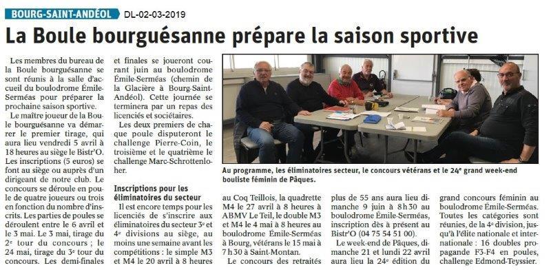 Le Dauphiné Libéré du 02-04-2019-Boules de Bourg Saint-Andéol