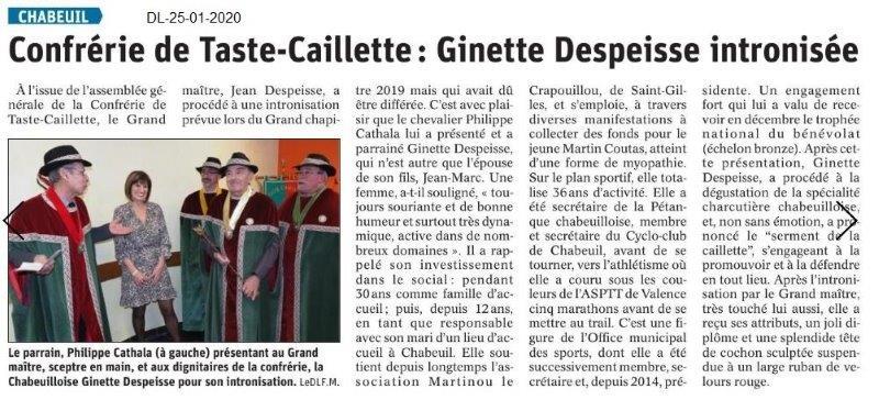 Dauphiné Libéré du 25-01-2020- Taste-Caillette de Chabeuil