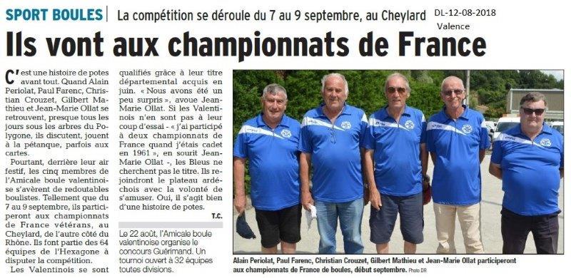 Dauphiné Libéré du 12-08-2018- Les Vétérans du Sport Boules se préparent pour le Championnat de France