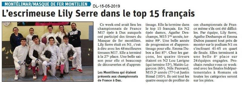 Le Dauphiné Libéré du 15-05-2019- Escrime de Montélimar