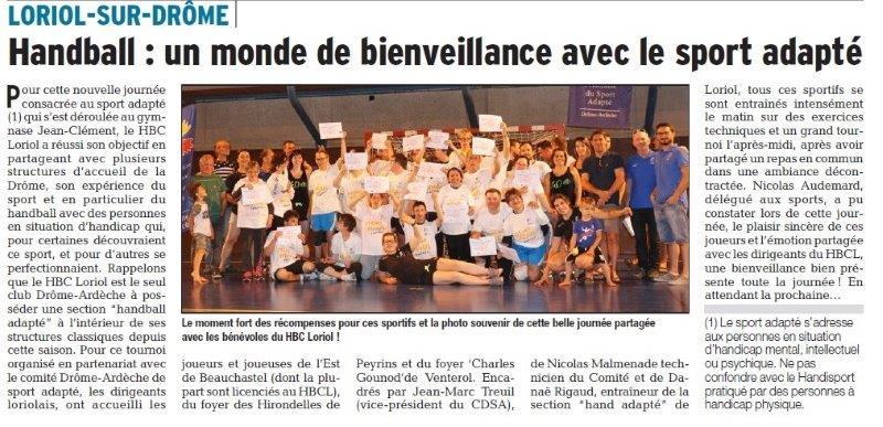 Dauphiné Libéré du 21-06-2018- Handball et le Sport Adapté