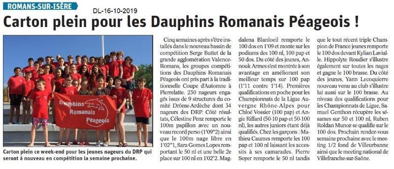 Dauphiné libéré du 17-10-2019- Dauphins Romanais péageois