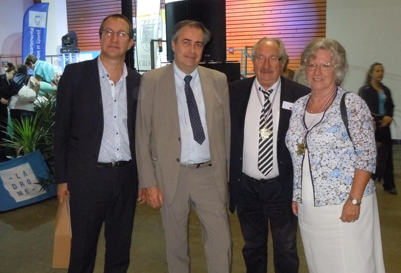 Trophées du Sport drômois CREST 2012 Jean-Marc Abattu et Yolande Saint-Clair avec Alain  Bléton et Pierre-Jean Veyret