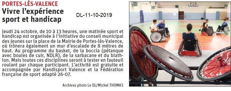 Dauphiné libéré du 11-10-2019- Journée Sport et Handicap à Portes-lès-Valence