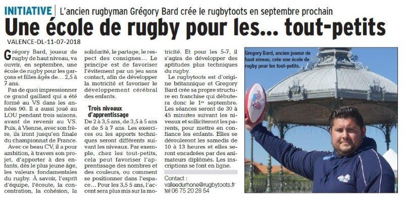 Dauphiné Libéré du 10-07-2018- Création d'une école de Rugby à Valence