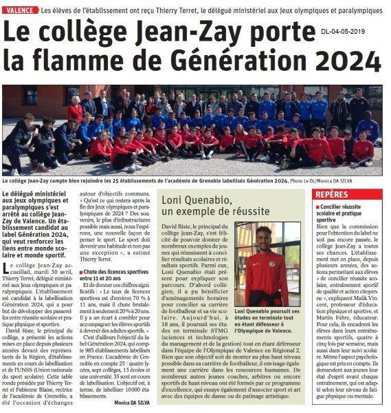 Le Dauphiné Libéré du 04-05-2019- Collège Jean-Zay