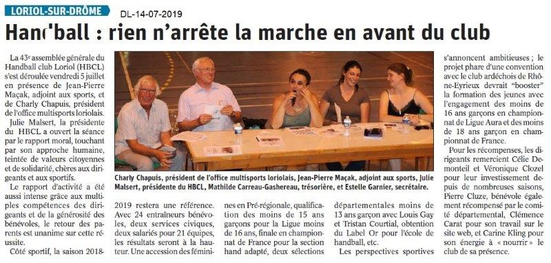 Dauphiné Libéré du 14-07-2019- Handball de Loriol