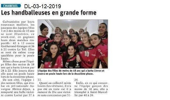 Dauphiné Libéré du 03-12-2019- Handballeuses Chabeuil