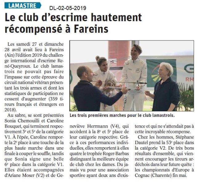 Le Dauphiné Libéré du 02-05-2019- Escrime de Lamastre