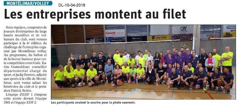 Le Dauphiné Libéré du 10-04-2019- Volley à Montélimar