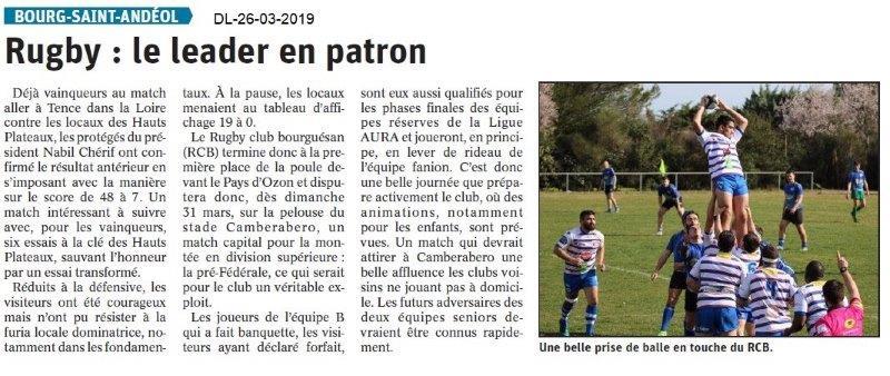 Dauphiné Libéré du 26-03-2019- Rugby de Bourg Saint-Andéol