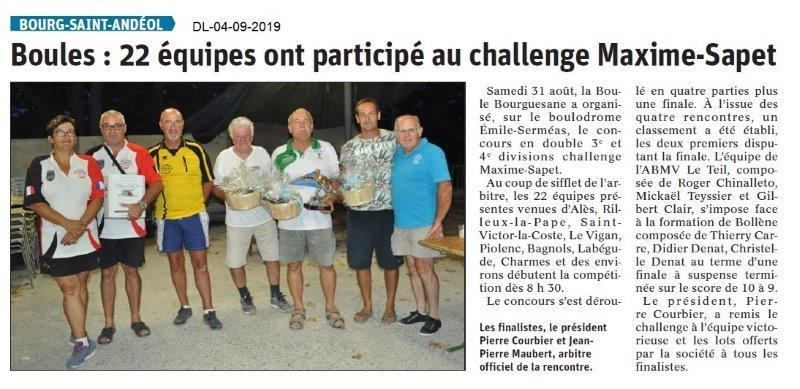 Dauphiné libéré du 04-09-2019- La Boule Bourguésanne