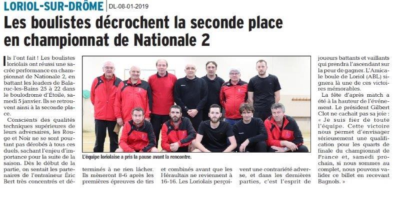 Dauphiné Libéré du 08-01-2019- Loriol-bouliste loriolais
