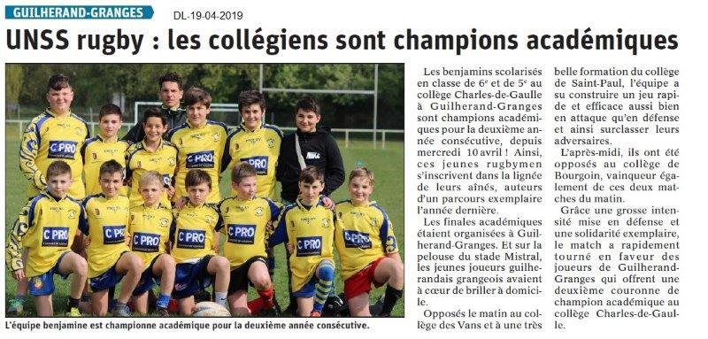 Le Dauphiné Libéré du 19-04-2019- UNSS Rugby de Guilherand
