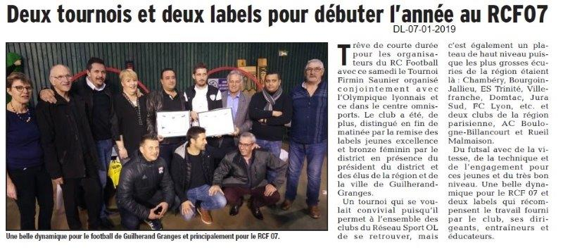 Dauphiné Libéré du 07-01-2019- Guilherand-Granges Football