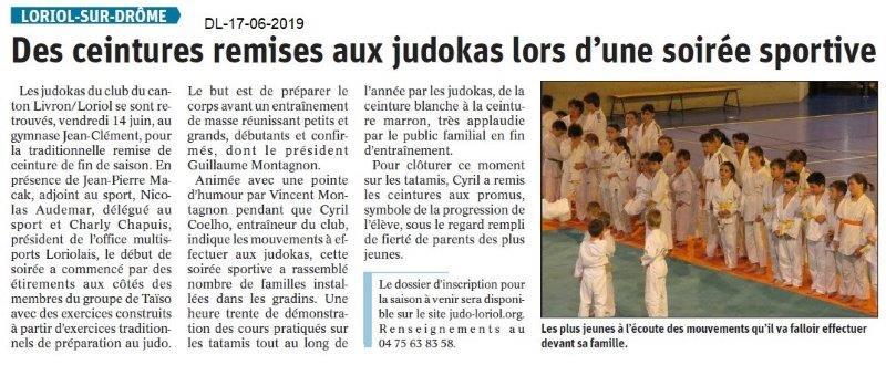 Dauphiné Libéré du 17-06-2019- Judo de Loriol