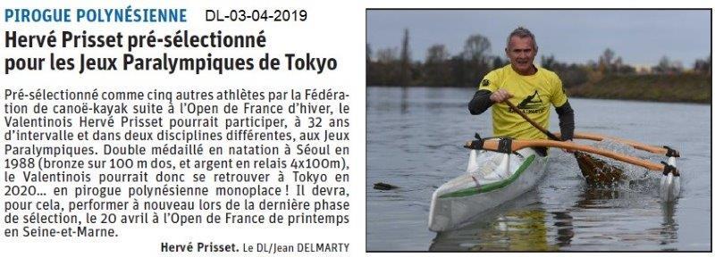 Le Dauphiné Libéré du 03-04-2019- Pour les jeux paralympique de Tokyo