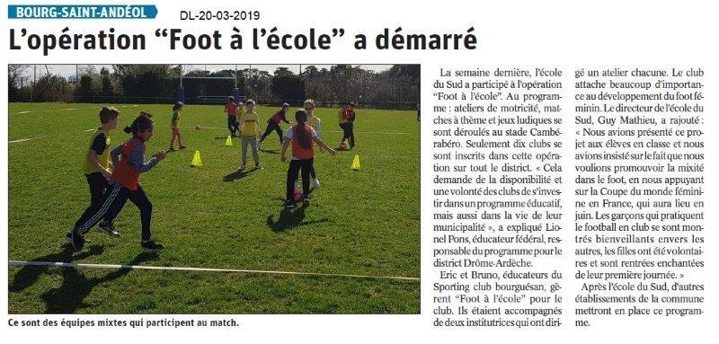 Dauphiné Libéré du 20-03-2019- Foot à l'école de BSA