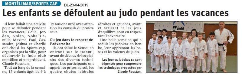 Le Dauphiné Libéré du 23-04-2019- Sport-zap judo montiliens