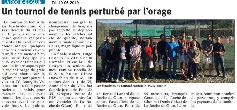 Dauphiné Libéré du 19-06-2019- Tennis de La Roche de Glun