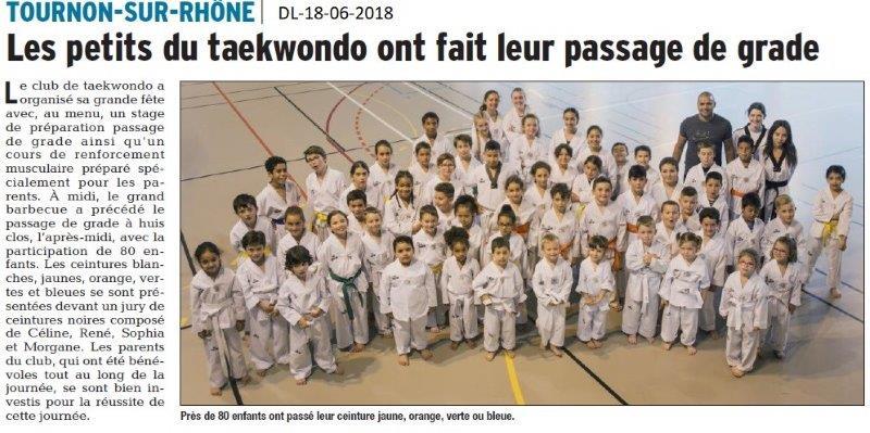 Dauphiné Libéré du 18-06-2018- Taekwondo à Tournon