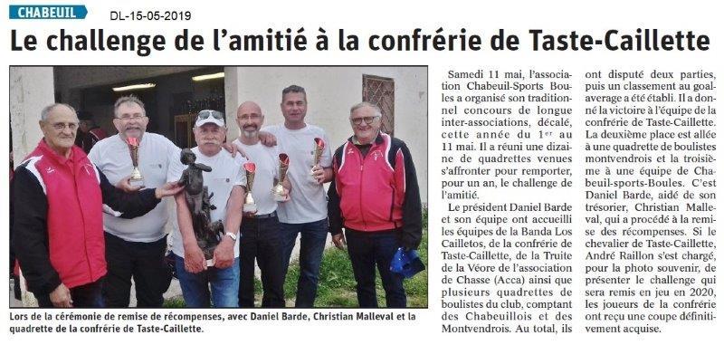 Le Dauphiné Libéré du 15-05-2019- Sports boules Chabeuil