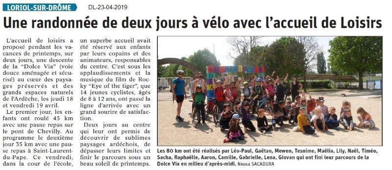 Le Dauphiné Libéré du 23-04-2019- Randonnée vélo à Loriol